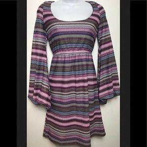 JUDITH MARCH Dress Chevron Knit Scoop Mini Blouson